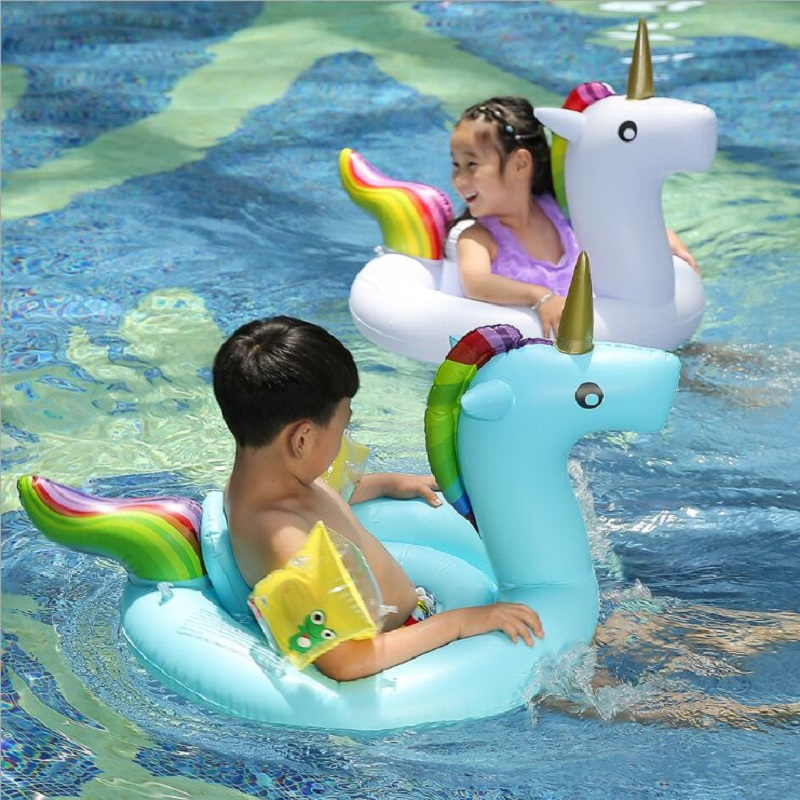 PVC Children's Swimming Ring Mounted On Water Inflatable Unicorn Swimming Seat Buoy