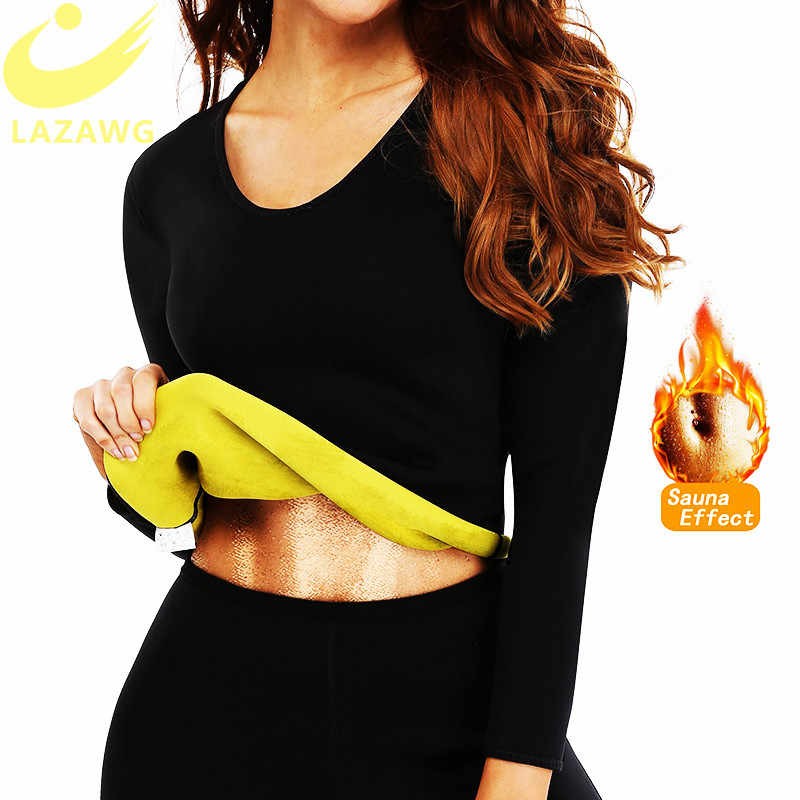 LAZAWG Vrouwen Hot Neopreen Shirt Sauna Zweet Shirt Gym Workout Lange Mouw Tops Afslanken Body Shaper Tank Top Fat Burn taille Faja