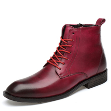 Men Ankle Boots Men Formal Dress Leather Shoes Western Cowboy Boots Male British Style Slip-on Wedding Dress Short Boot For Man