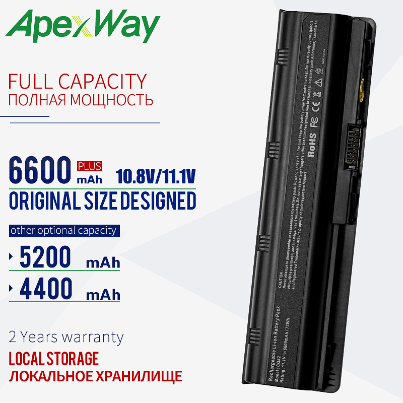 ApexWay 11.1V Battery For Hp Pavilion G6 Battery  CQ72 CQ57 CQ62 CQ43-300 For HP Pavilion G4 G6 G7 G32 593553-001 G56 G62  MU06