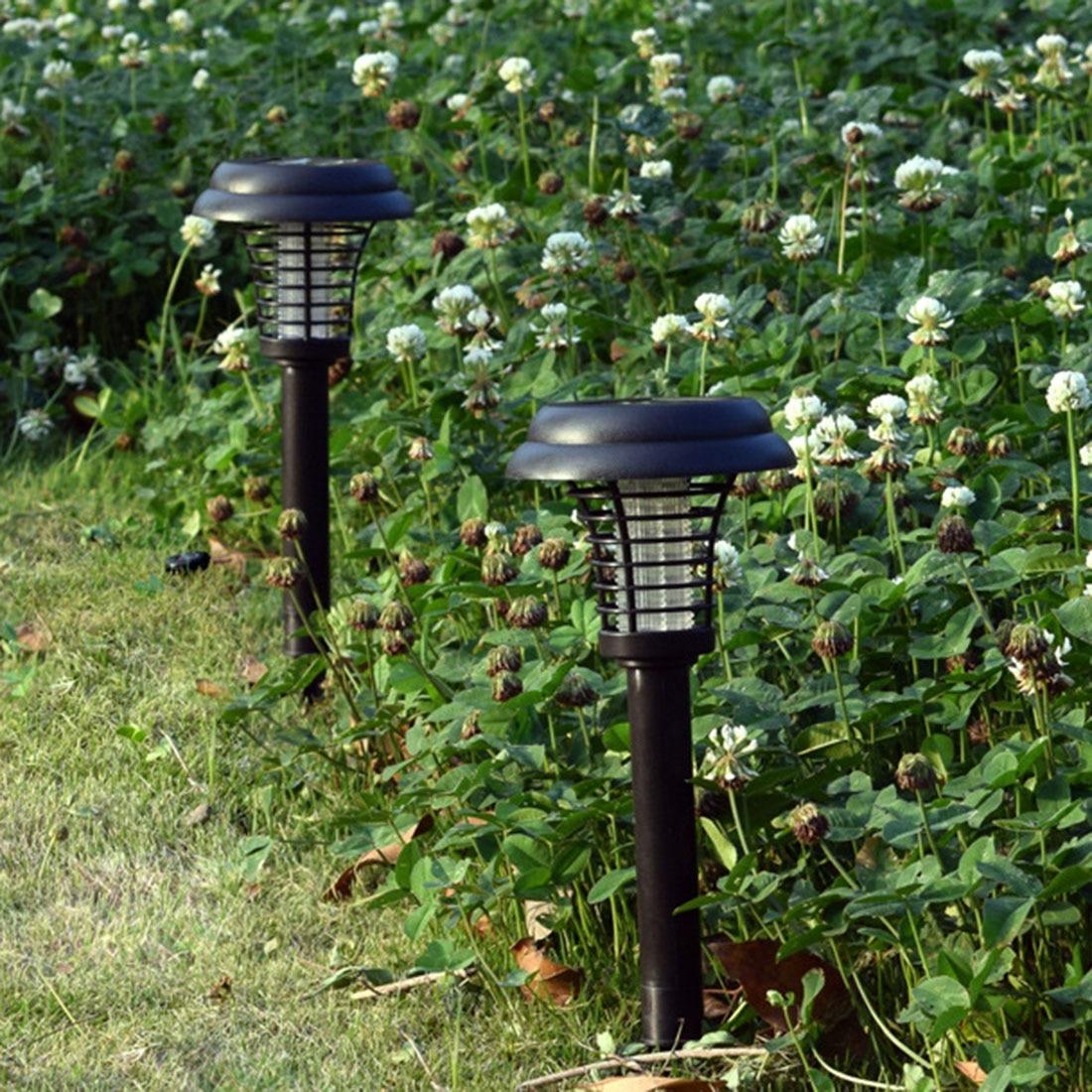 Ev ve Bahçe'ten Kovucular'de 1/2/5/10 adet LED güneş enerjili sivrisinek Zapper açık böcek öldürme lambası kovucu 2020 yeni  siyah title=