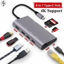 LHMZNIY 8 IN1 USB C HUB USB C HUB Type C TO USB 3.0 HDMI 4 K RJ45 Power อะแดปเตอร์ Type C HUB HAB Splitter สำหรับ MacBook Pro Air