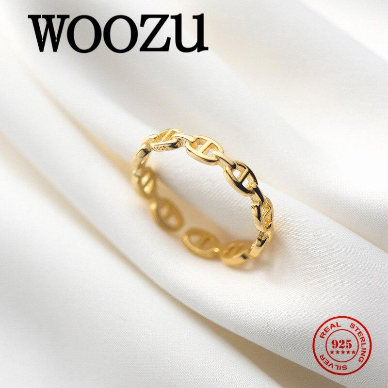 Woozu moda ouro cubana corrente porco nariz ajustável dedo anel para mulher real 925 prata esterlina romântico presente de jóias de casamento