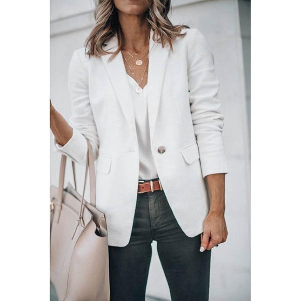 Women Blazer Fashion Autumn Women Office Worker Solid Full Sleeve Button Suit Jacket Coat Lady Blazers Coat Plus Size out wear