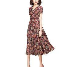 2021最新デザインカジュアルレディース花ドレス半袖aラインシフォンドレス女性のための夏