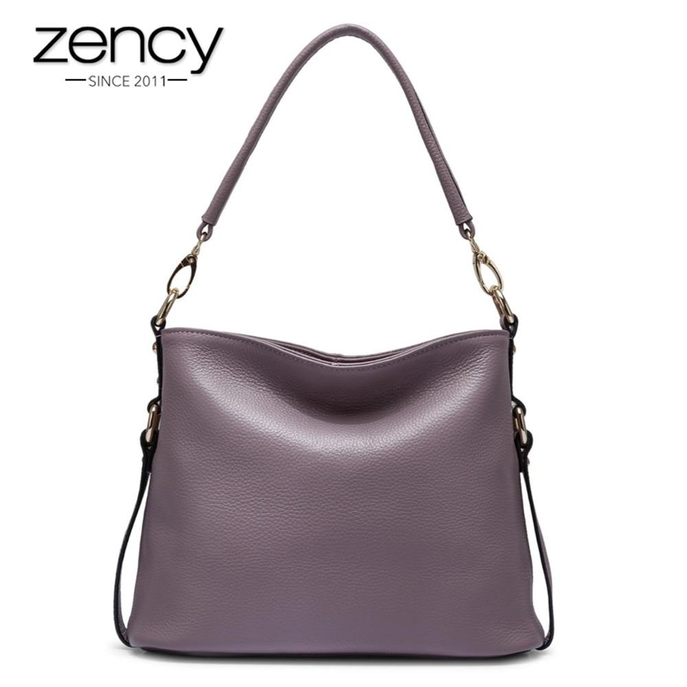 Zency Elegant Women Shoulder Bag 100% Genuine Leather Hobos Fashion Lady Messenger Popular Purple Pink Bolso Hombro Mujeres