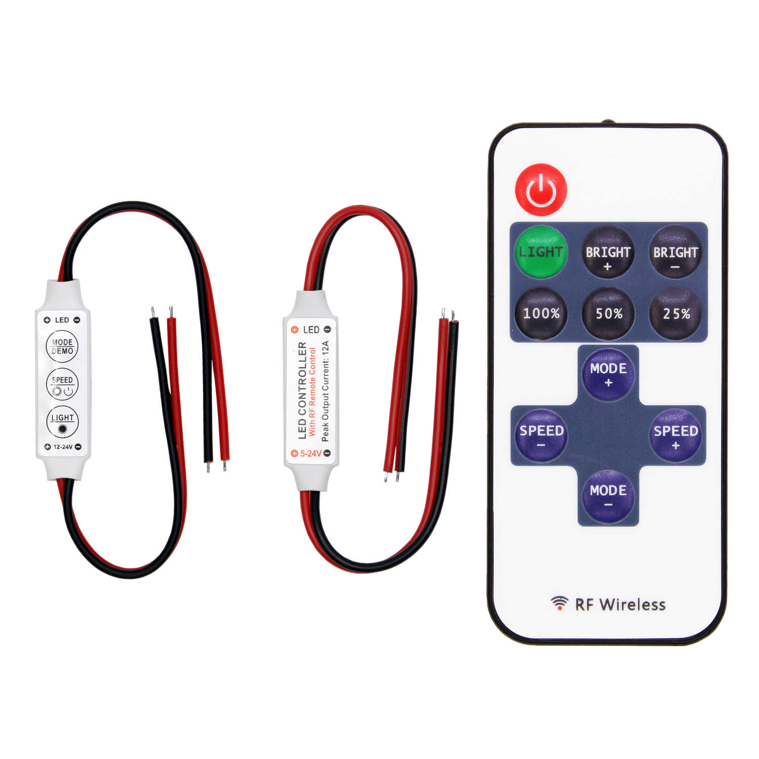 LED Strip Controller Mini Dimmer RF Remote DC 5V 12V 24V Controller untuk 5050 2835 Strip satu Warna