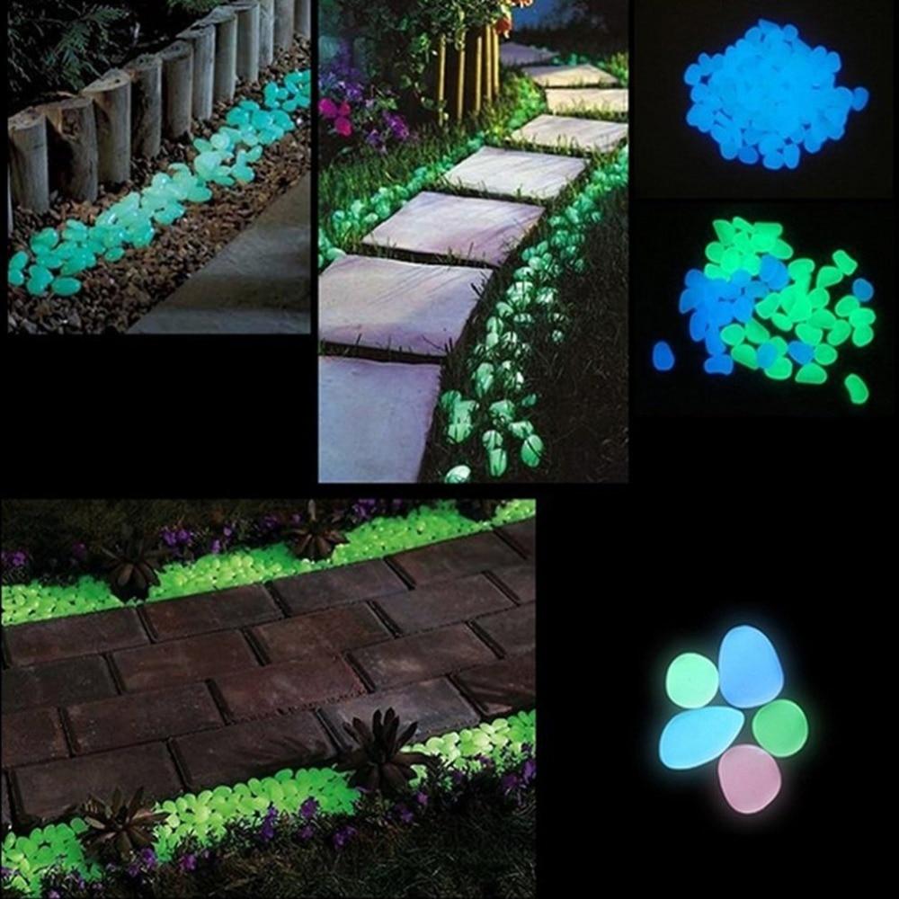 500 Pcs Glow In The Dark Stones Garden Pebbles Rocks For Outdoor Walkway Blue