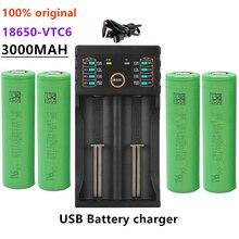 Novo 3.7v 18650 bateria 3000mah vtc6 recarregável li-ion bateria para us18650vtc6 30a para e-cigarro + 1pc carregador de bateria