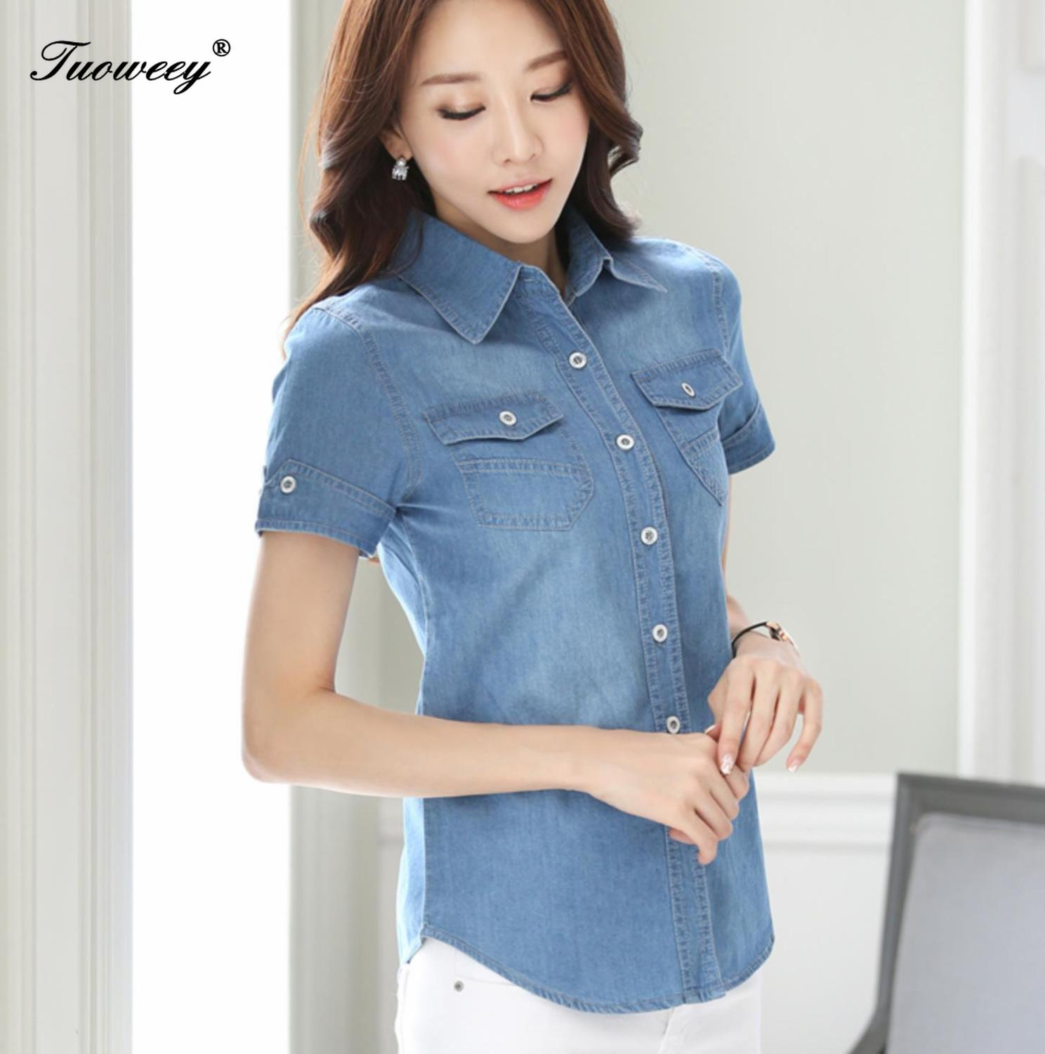 Cotton 2019 Spring Fashion Loose Denim Women Blouses Short Sleeve Shirts Women Tops Vintage Jeans Blouse Female Casual Clothing