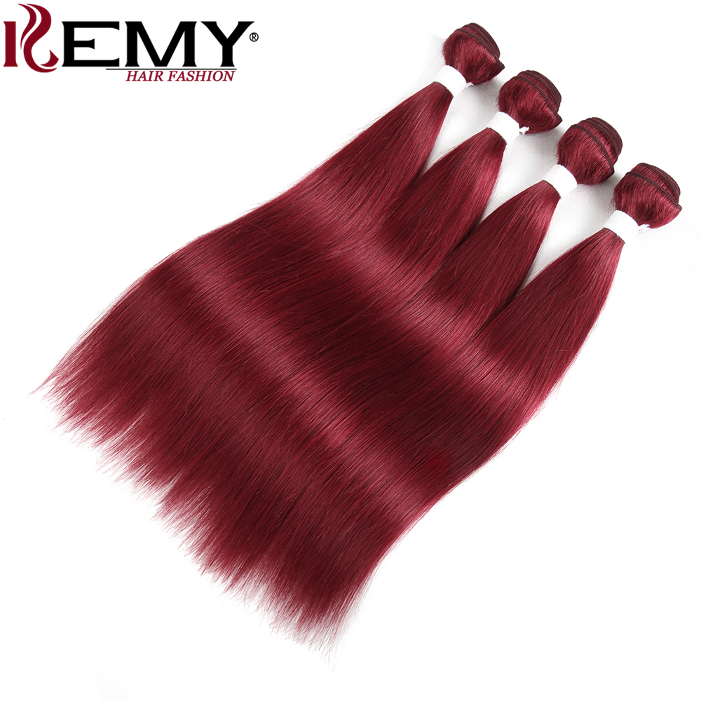 99J/Burgundy Red Color Brazilian Straight Human Hair Weave Bundles KEMY HAIR 8 To 26 Inch Non-Remy Human Hair Extensions 3/4 PCS