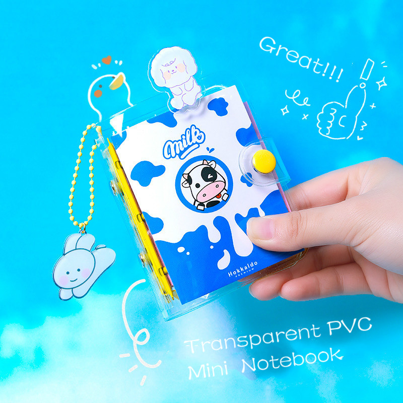 Transparent Pvc Cover Mini Binder Notebook 3 Holes Loose-leaf Cute Diary Notebook Kawaii Pocket Journal Notebook Agenda Notepad image
