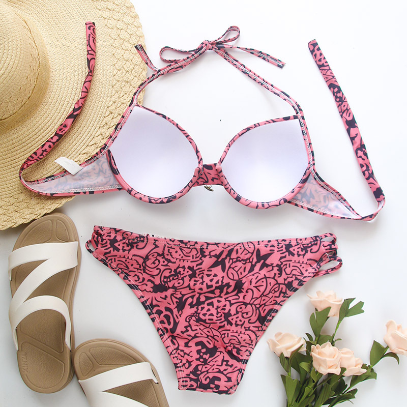 Summer Sexy Bikinis Swimsuit Women Push Up Biquinis Low Waist Bathing Suits Sexy Swimsuit 2020 Women Floral Swimming Wear Ladies 3