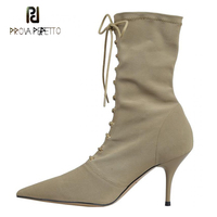 Prova Perfetto Autumn Winter Stretch Fabric Sock Boots Fashion Front Cross Tied Sexy Pointed Toe Stiletto Heel Short Boots Women