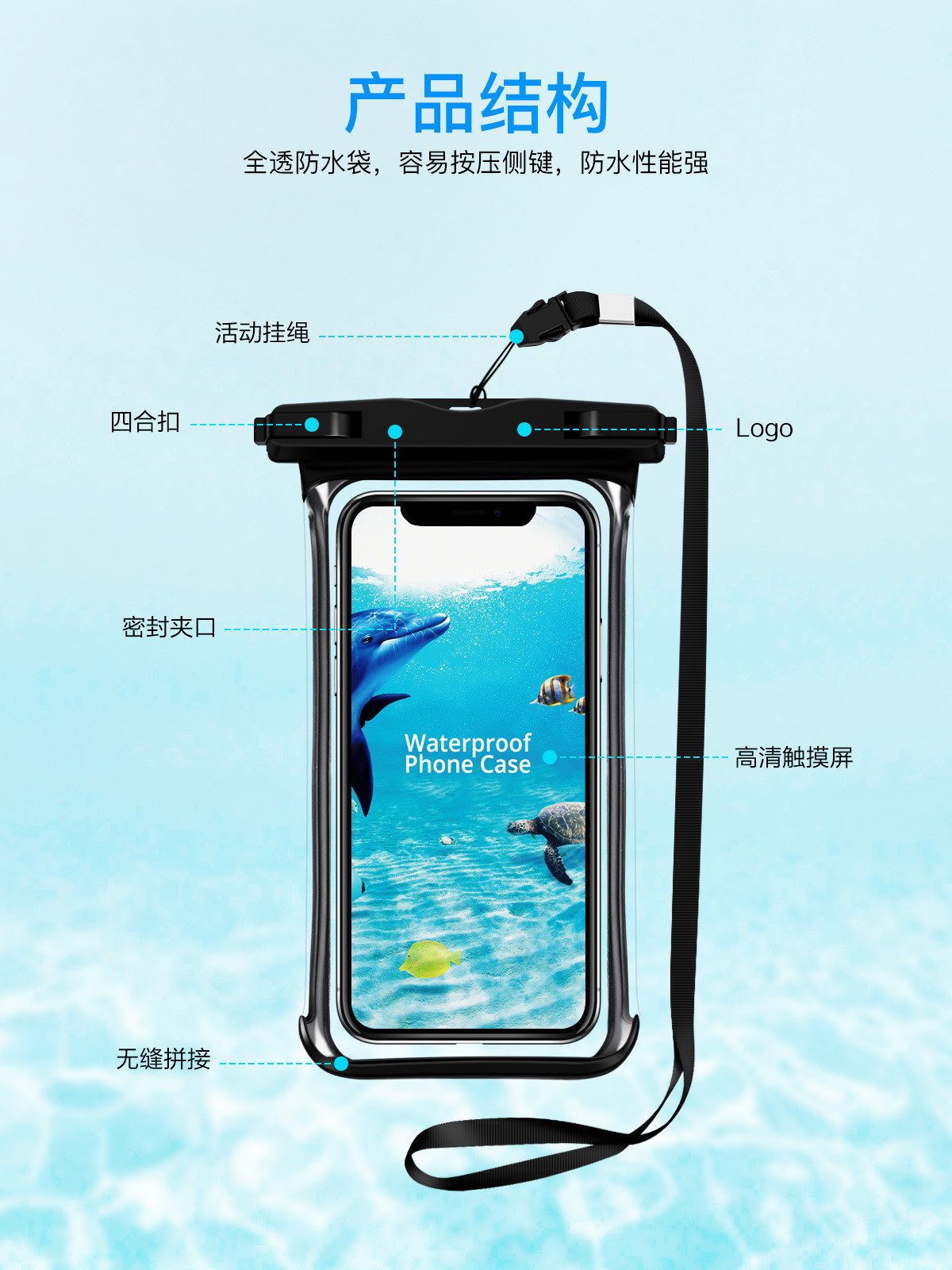 H0a9f03a3ec7346b4bda7b91aefaaaf747 - Full View Waterproof Swimming Pouch Case for Phone Underwater Snow Rainforest Transparent Dry Bag Big Mobile Phone Bag Sealed