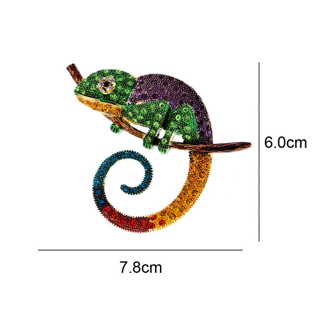 CINDY XIANG Large Lizard Chameleon Brooch Animal Coat Pin Rhinestone Fashion Jewelry Enamel Accessories Ornaments 3 Colors Pick 2