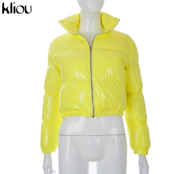 Kliou Crop Bubble Puffer Coat Winter Parkas Faux PU Leather Warm Long Sleeve Women Outerwear Zipper Casual Solid Slim Hot Jacket 11