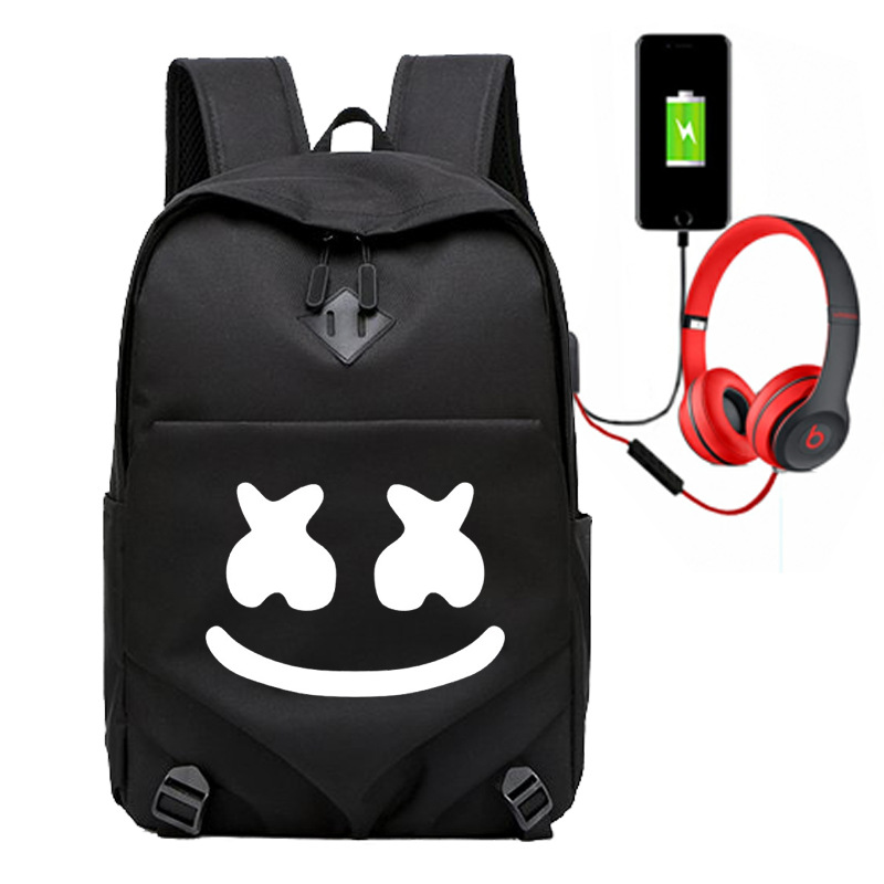 Marshmello School Bag Electronic Music Cotton Candy Related Baida DJ Backpack Cross-Border For A Generation Of Fat