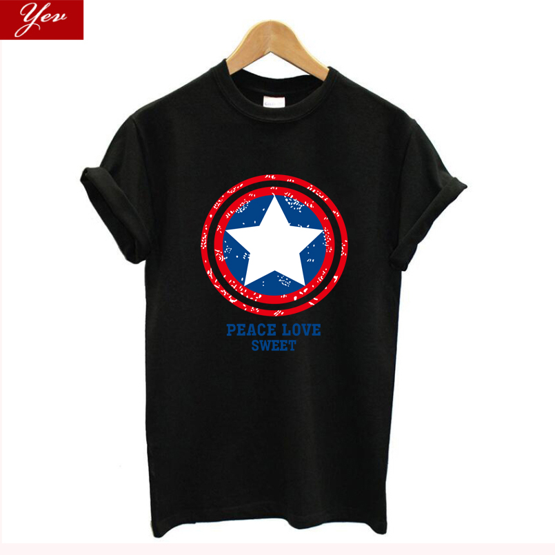 Fashion Harajuku MARVEL T Shirt Women Cotton Casual Captain America Female Shirt  T-shirt Women Tops Graphic Tees Plus Size