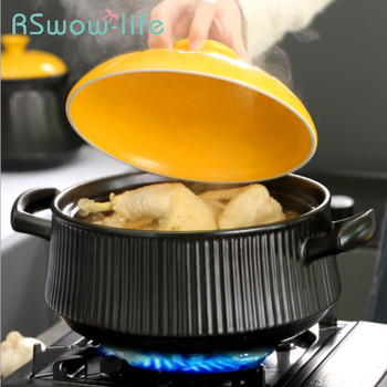 Kitchen Household Gas Stove Soup Pot Stone Pot High Temperature Resistant Large Capacity Ceramic Pot Kitchen Utensils Soup Pot