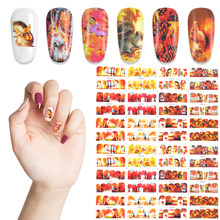 12 Style/set Autumn Style Yellow Red Maple Leaf Labels Sticker Nail Decals Wraps Decor Adhesive Water Transfer Nail Art Stickers(China)