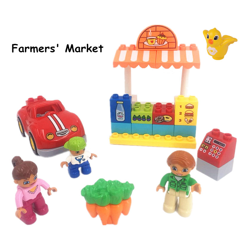 Big Szie Duploe Building Block Brick DIY Farmer Market Toys For Children Accessories Duploed Toys For Kids Chirstmas Gifts