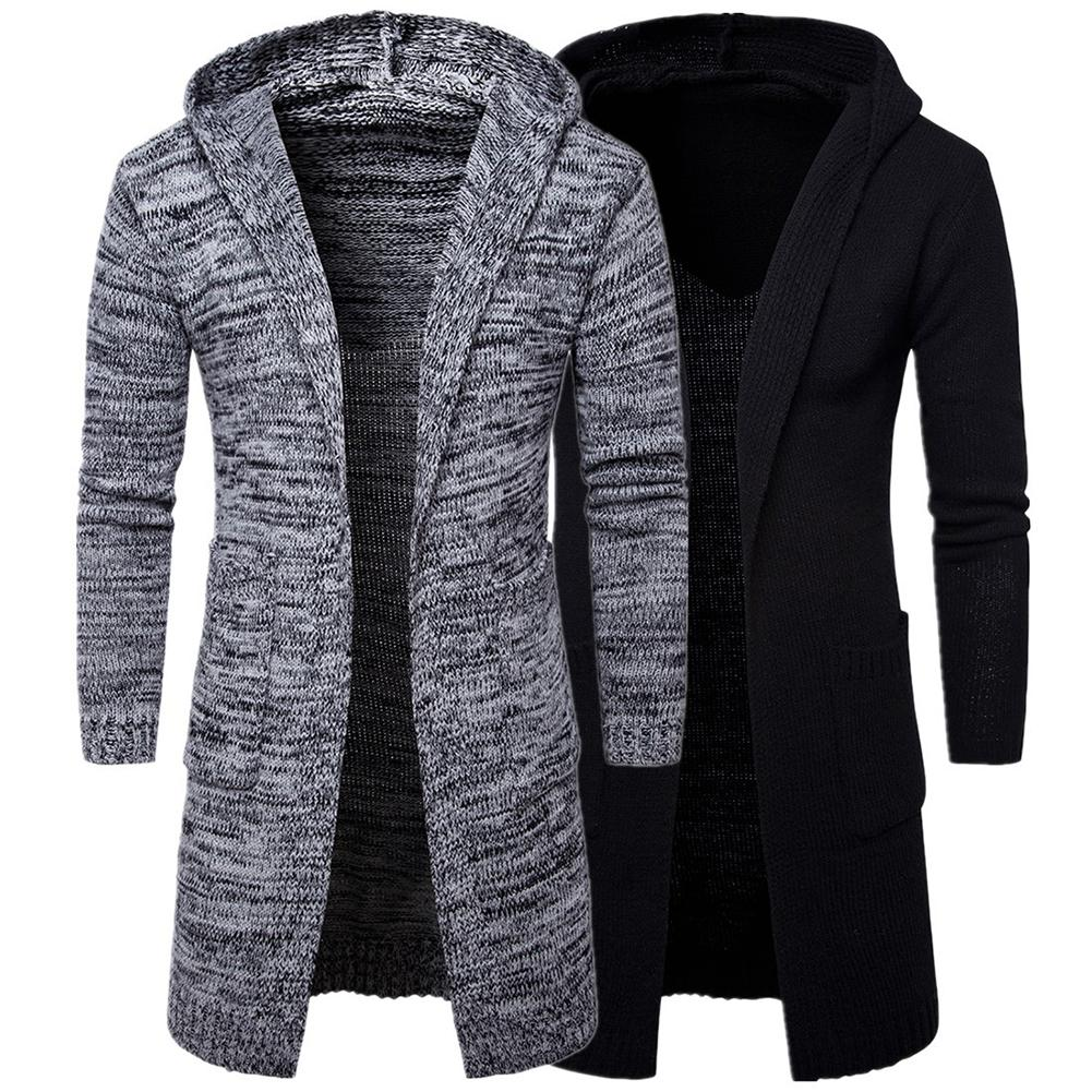 Casual Men Solid Color Long Sleeve Pockets Thick Knitted Cardigan Hooded Coat