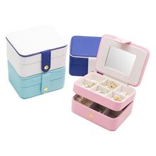 Simple Portable Double Layer Jewelry Box Earrings Ring Bracelet Storage Place Multipurpose Rectangle Finishing Boxes