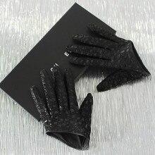 DEAT-guantes de piel de oveja a cuadros para mujer, de moda, ultracorto, Sexy, de media palma, PB183, otoño e invierno, 2021