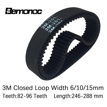 Arc HTD 3M Timing Belt 246/249/252/255/258/261/270/276/282/285/288mm Width 6/10/15mm Teeth 82-96 HTD3M Synchronous Drive Belt free shipping 1pcs htd1540 14m 40 teeth 110 width 40mm length 1540mm htd14m 1540 14m 40 arc teeth industrial rubber timing belt