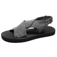 Sandals female summer Korean version of the pinch beach shoes thick-soled sandals and slippers outside wearing slipp