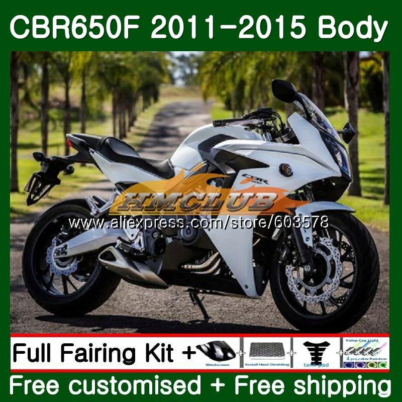 CBR-650F Pour HONDA CBR 650F 650 F 2011 2012 2013 2014 2015 130CL. 10 CBR650 F CBR-650 CBR650F 11 12 13 14 15 Carénage Blanc Noir