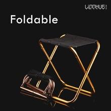LINNHUE Outdoor Aluminum Folding Stool Chair Small Mazza Fishing Portable Camping Tool