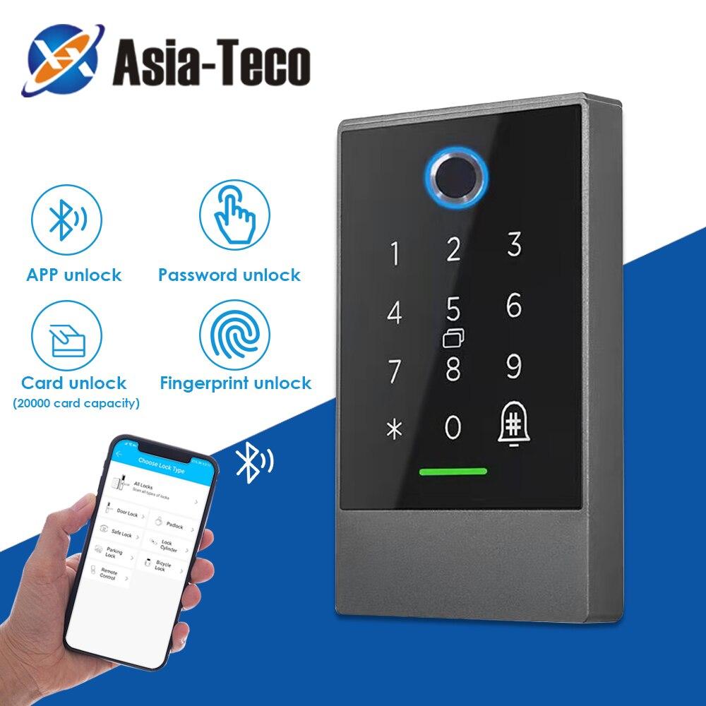 Impermeable 13,56 MHZ Lector de Control de Acceso de huellas dactilares bloqueo de la puerta Digital de la App Bluetooth cerradura de largo alcance tarjeta lectora de huellas digitales