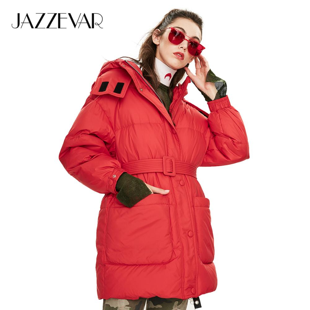 JAZZEVAR 2019 Winter New Arrival Women Down Jacket Top Red Color With Belt Fashion Style Winter Short Down Coat For Women K9043