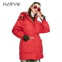 JAZZEVAR 2019 Winter new arrival women down jacket top red color with belt fashion style winter short down coat for women K9043(China)