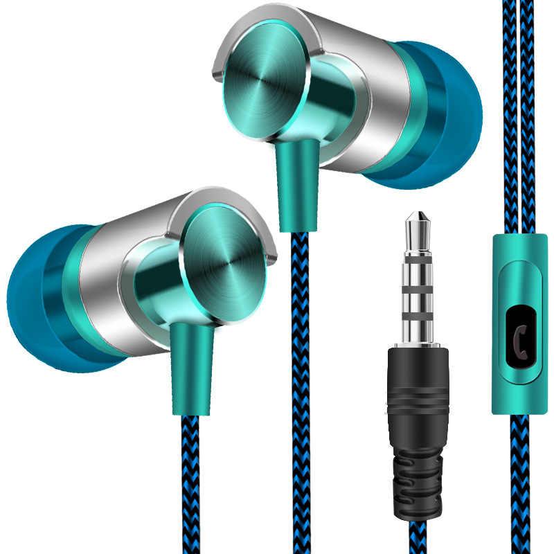 3.5 مللي متر سماعة رأس مزودة بميكروفون سلكي رياضي باس ستيريو سماعة داخل الأذن التحكم في مستوى الصوت حر اليدين ل هاتف ذكي