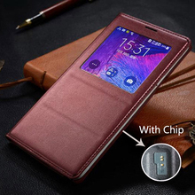 Flip Cover wallet Leather Phone Case For Samsung Galaxy Note 4 Smart View Note4 SM N910 N910F N910H SM-N910F With Original Chip