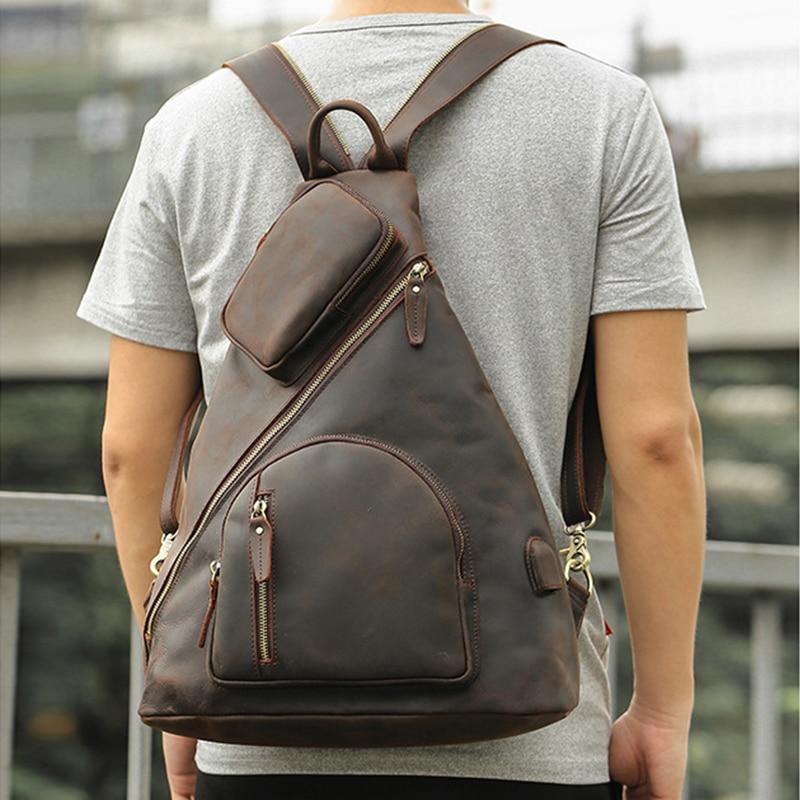 Мужской кожаный рюкзак MAHEU, с одним плечевым ремнем, нагрудный рюкзак большого размера с usb разъемом для зарядки Рюкзаки      АлиЭкспресс