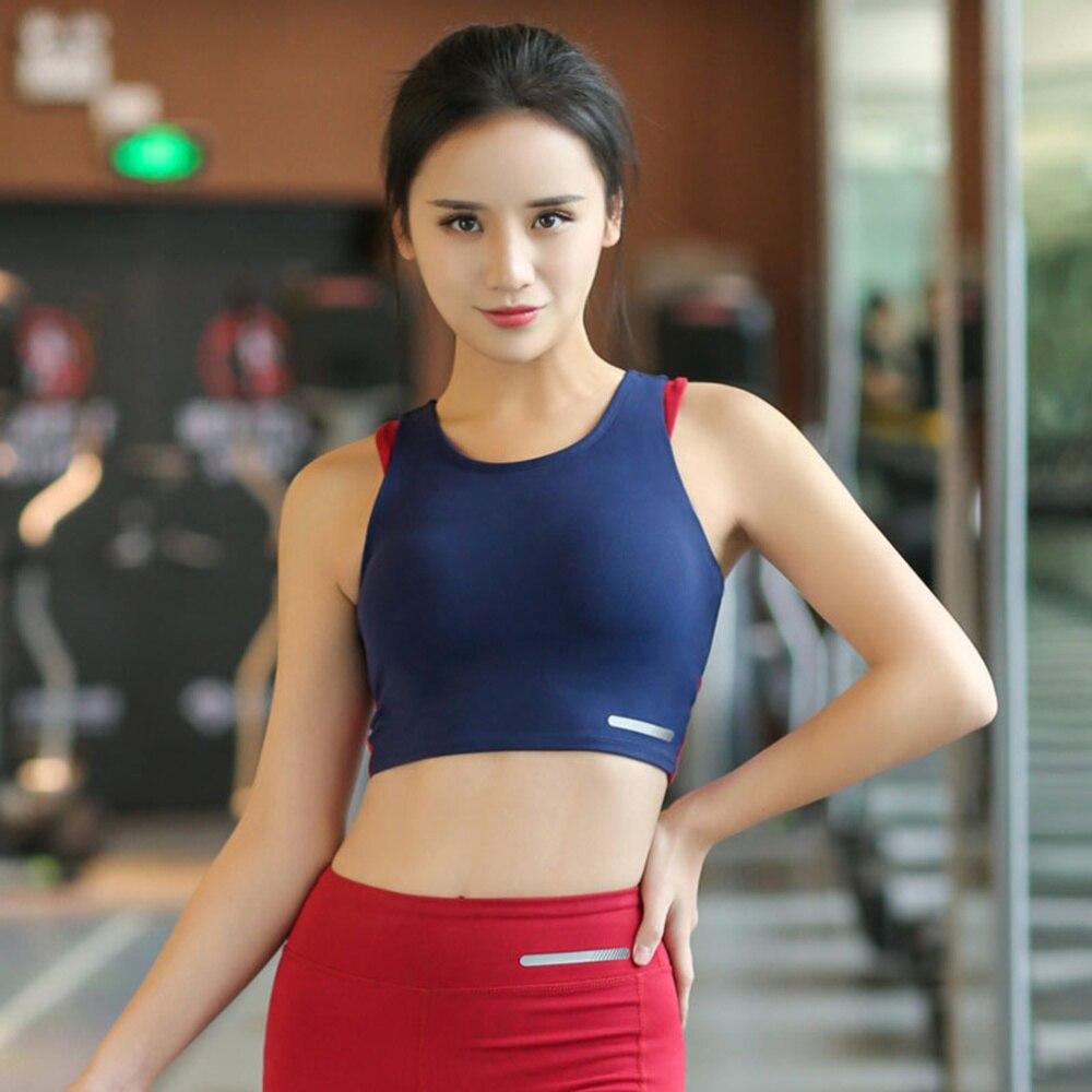 Underwired Push Up Bra Shockproof Underwear Undergarment Yoga Vest for Running Sports (Blue, Size M)