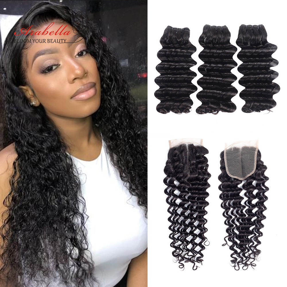 Arabella Supper Double Drawn Deep Wave Hair Bundles With Lace Closure 100%   Bundles Virgin Hair  1