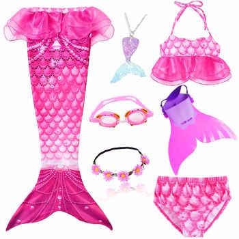 Kids Mermaid Swimsuit Bikini Girls Mermaid Tail with Finned Swimsuit Child\'s Wear Split Swimsuit Mermaid Tail Clothing Swimwear