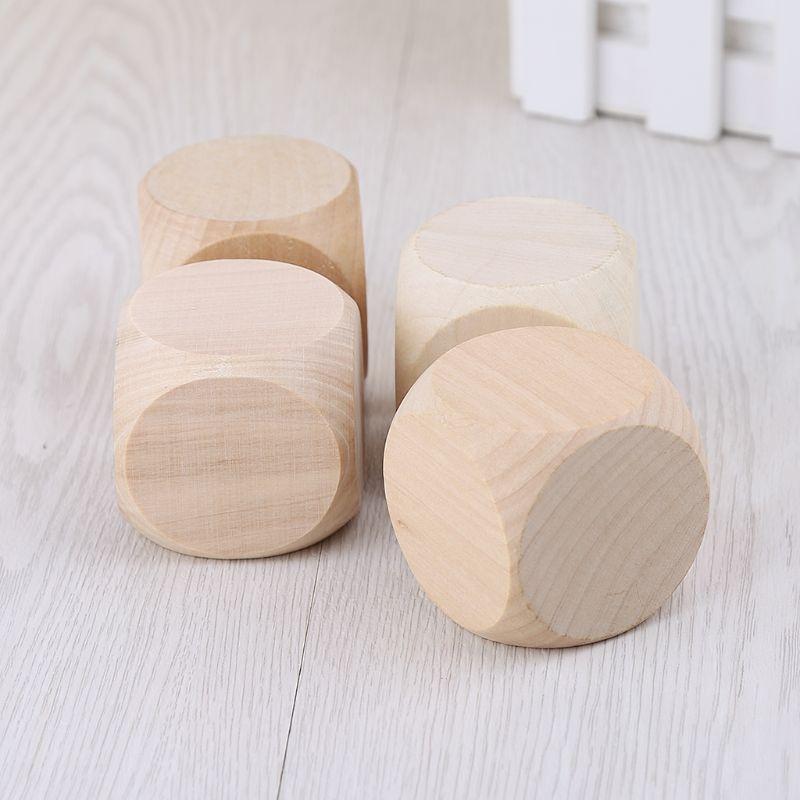 2021 nuovo 5cm 6 lati in legno bianco dadi festa famiglia giochi fai da te stampa incisione giocattoli per bambini