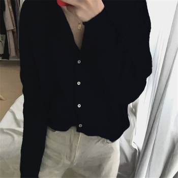 Ailegogo New 2020 Autumn Winter Women's Sweaters Korean Style Button Cardigan casual Hollow out Knitted Cardigans SWC1750 5