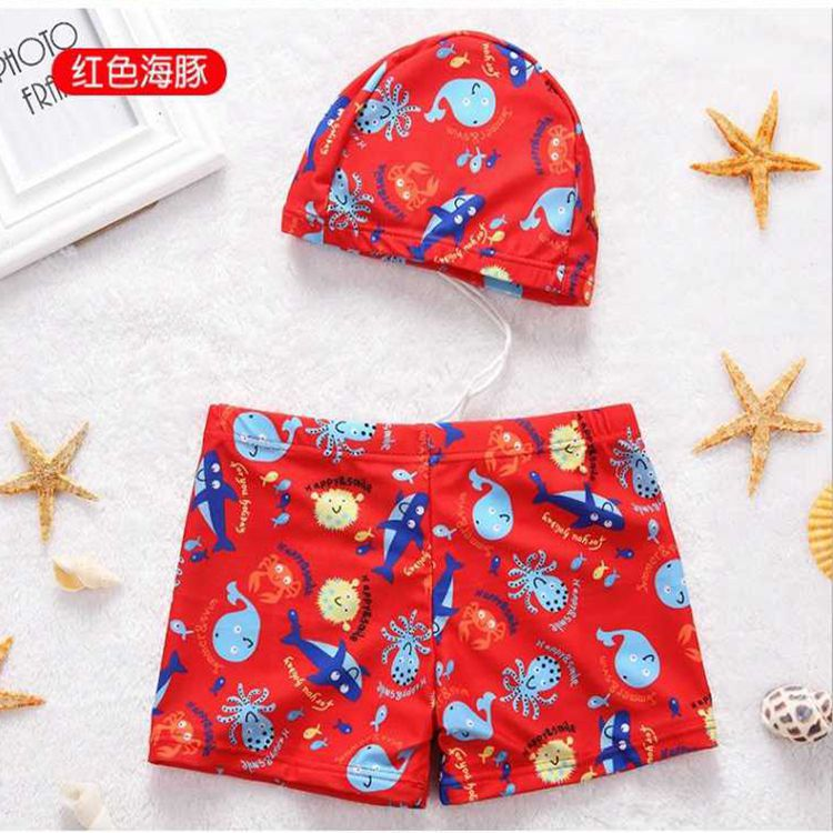 CHILDREN'S Swimming Trunks BOY'S Boxer Swimming Trunks Hooded Boy Split Type Swimwear Big Boy Quick-Dry Bathing Suit 4-12-Year-O