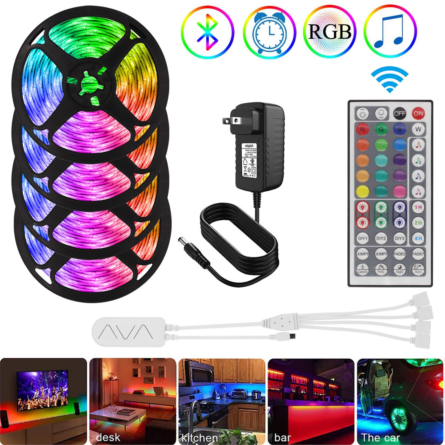 Waterproof RGB Led Strip 5050 SMD 5m/10m/20m 12V Led Bluetooth Rope Light for Bed Room Home Decoration,Color Changing with Music|LED Strips| - AliExpress