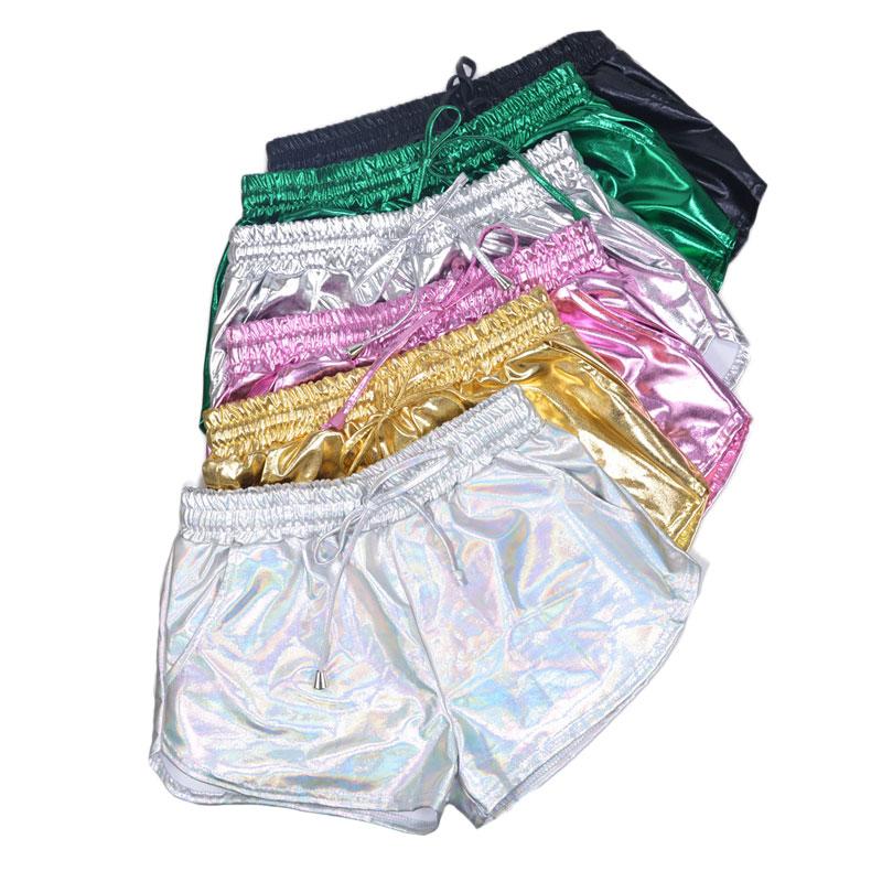 2020 Women Shiny Metallic Hot Shorts Summer Holographic Wet Look Casual Elastic Drawstring Festival Rave Booty Shorts