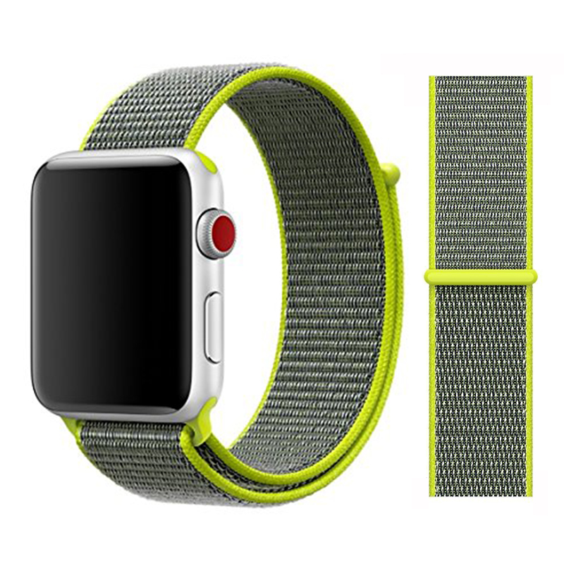Для наручных часов Apple Watch, версии 3/2/1 38 мм 42 мм нейлон мягкий дышащий нейлон для наручных часов iWatch, сменный ремешок спортивный бесшовный series4/5 40 мм 44 мм - Цвет ремешка: Color2 Flash