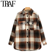 TRAF Women Vintage Stylish Pockets Oversized Plaid Jacket Coat Fashion Lapel Col