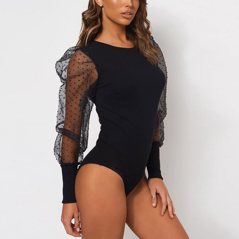 New Fashion Bodysuit Women Sexy Round Neck Lace Mesh Gauze Puff Sleeve Jumpsuit Long Sleeve Bodysuit Transparent Tops W4